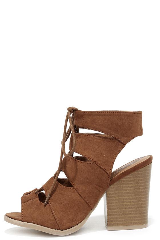 Cute Dark Rust Sandals - Block Heel Sandals - Lace-Up Sandals - $38.00