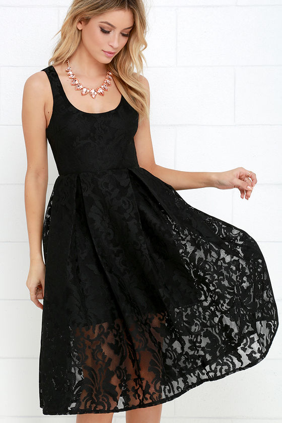 Lovely Black Dress - Lace Dress - Midi Dress - $64.00
