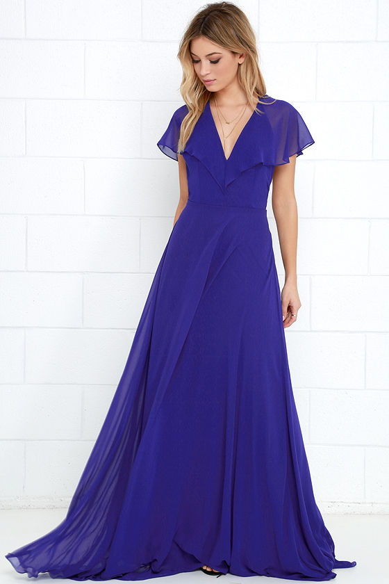 1bb813467d5 Lovely Royal Blue Dress - Maxi Dress - Short Sleeve Dress -  112.00