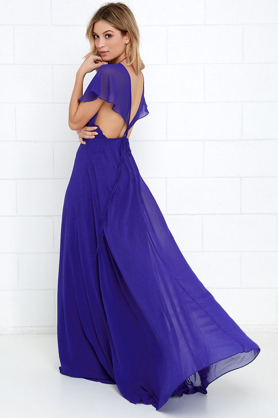Lovely Royal Blue Dress - Maxi Dress - Short Sleeve Dress - $112.00
