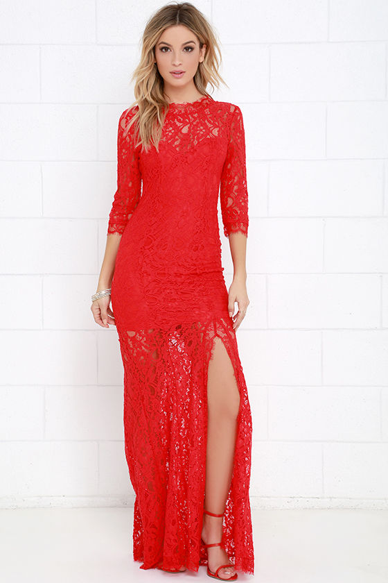 Gorgeous Red Dress - Lace Dress - Half Sleeve Dress - Maxi Dress ...