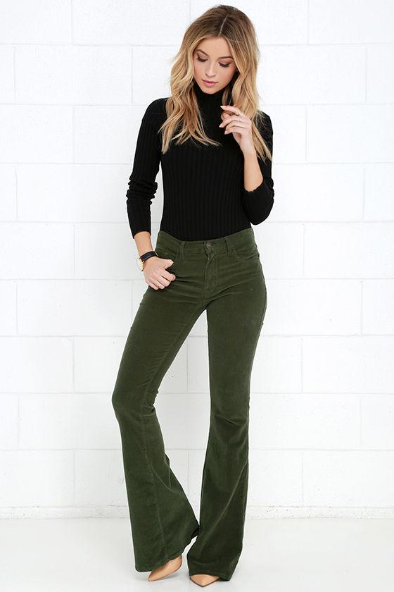 Corduroy Pants - Flare Pants - Olive Green Pants - $78.00