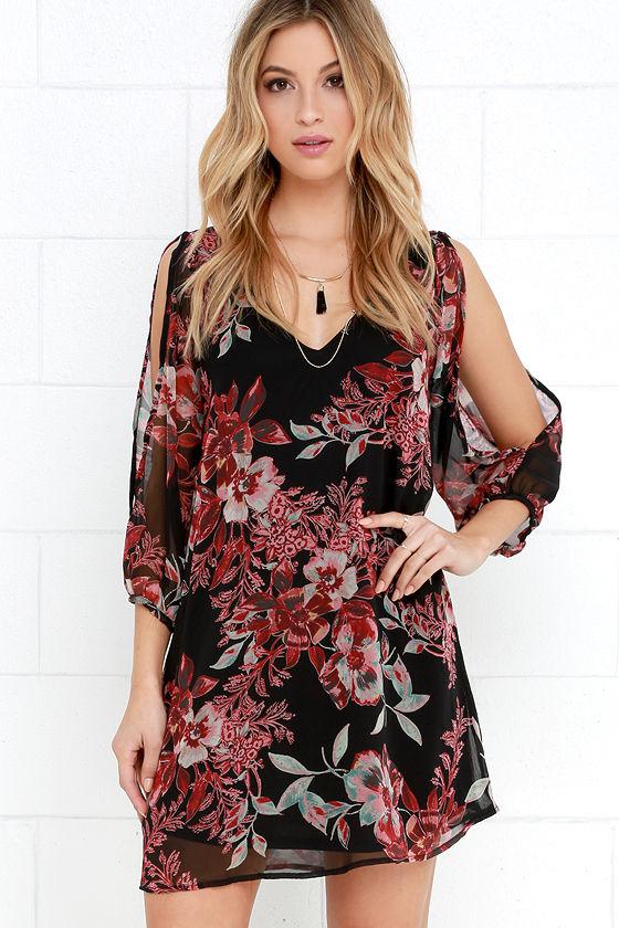 5b311df42dd70 Pretty Floral Print Dress - Shift Dress - Cold Shoulder Dress -  44.00