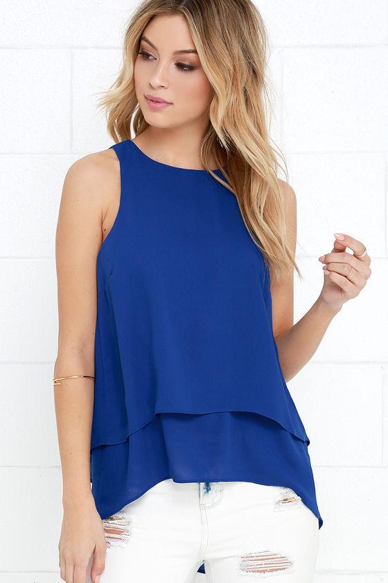 Cute Royal Blue Top Layered Top Sleeveless Top 24 00