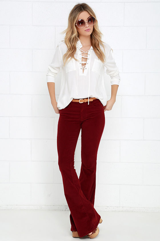 Corduroy Pants - Flare Pants - Wine Red Pants - $78.00
