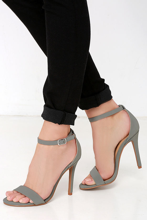 Sexy Single Strap Heels - Ankle Strap Heels - Grey Heels - $26.00