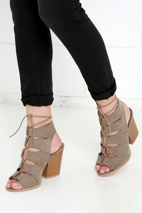 4a8eea37a085 Cute Taupe Sandals - Block Heel Sandals - Lace-Up Sandals -  38.00