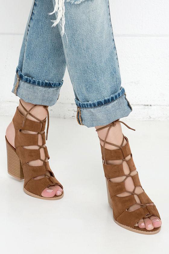 46f4de66e16 Cute Dark Rust Sandals - Block Heel Sandals - Lace-Up Sandals -  38.00