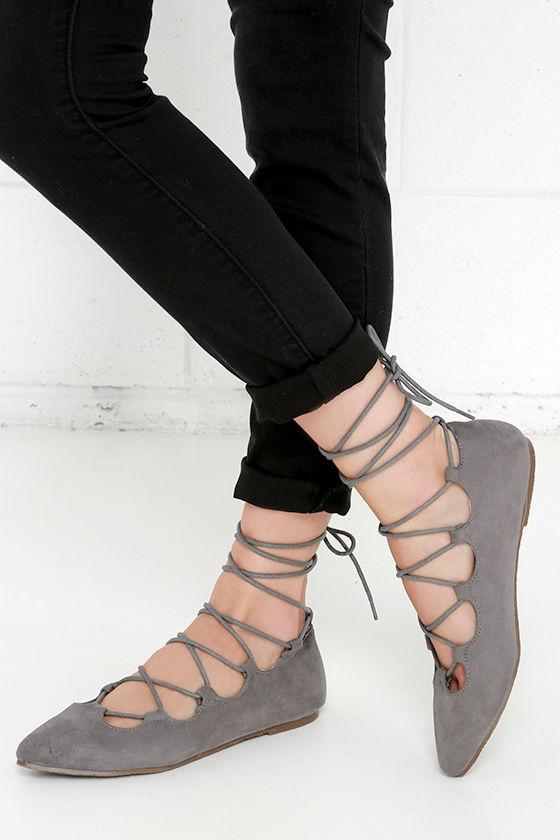 grey flats suede flats lace up flats 25 00