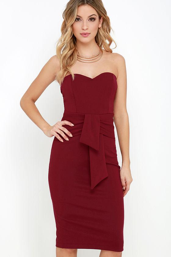6e4d89d58e Sexy Wine Red Strapless Dress - Midi Dress - Bodycon Dress -  58.00