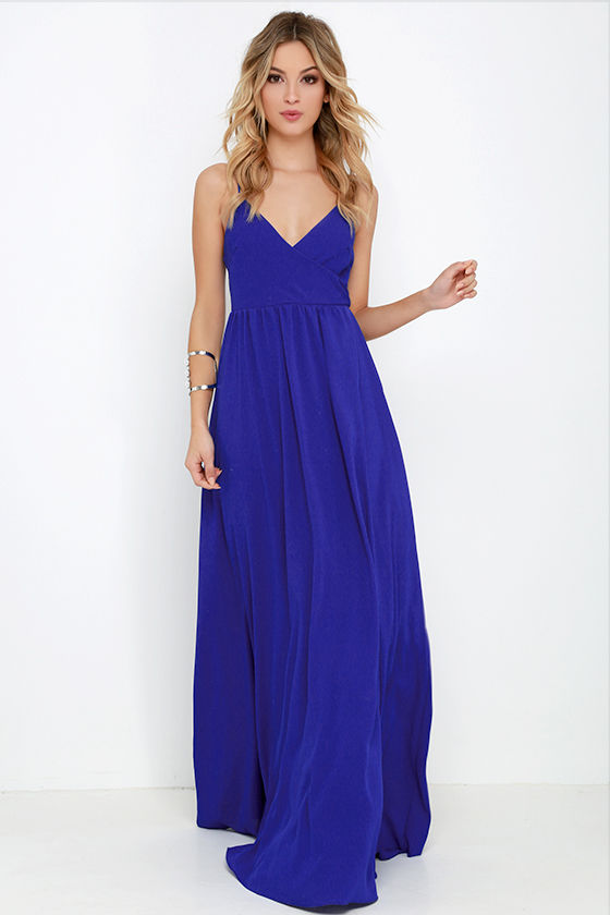 Lovely Royal Blue Dress Maxi Dress Sleeveless Maxi