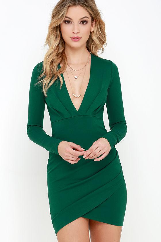 Sexy Dark Green Dress - Bodycon Dress - Long Sleeve Dress - $49.00