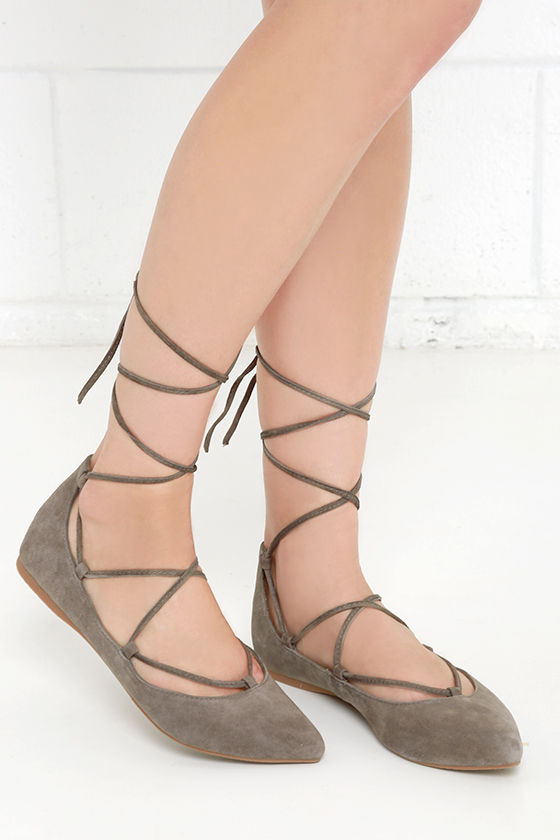 14db86713ae Steve Madden Eleanorr Flats - Taupe Flats - Ankle Wrap Flats -  79.00