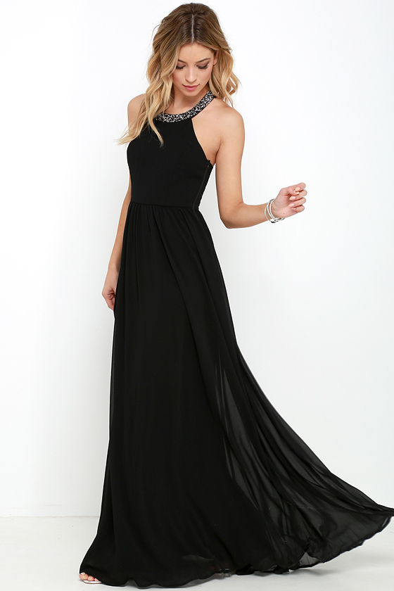 644b24eacb5 Black Gown - Maxi Dress - Beaded Dress -  76.00