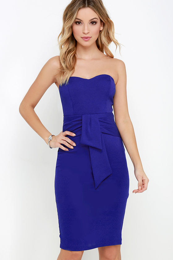 Sexy Royal Blue Strapless Dress - Midi Dress - Bodycon Dress - $58.00