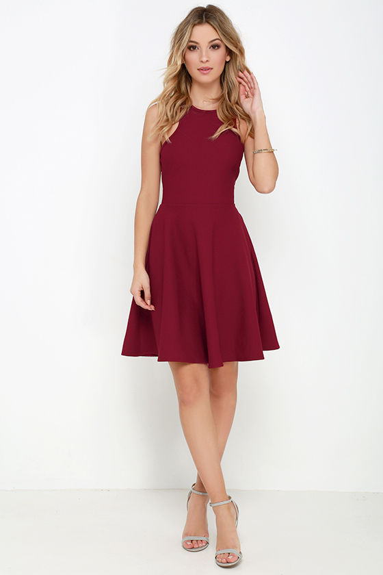 83ee0ebf Lovely Burgundy Dress - Skater Dress - Racerback Dress - $44.00