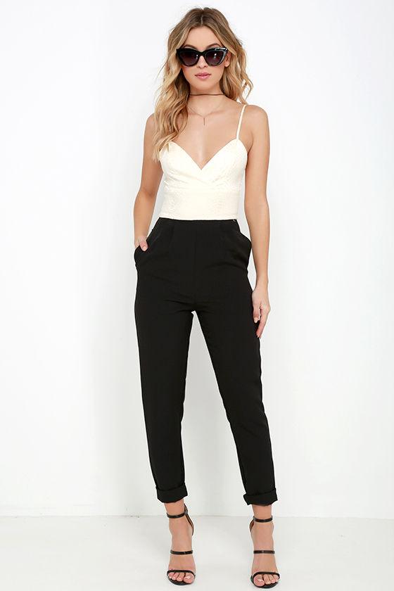 Chic Beige and Black Jumpsuit - Snake Print Jumpsuit - $59.00