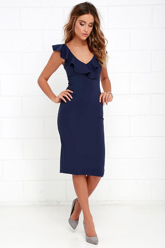 Chic Navy Blue Dress - Midi Dress - Bodycon Midi Dress - Ruffle ...