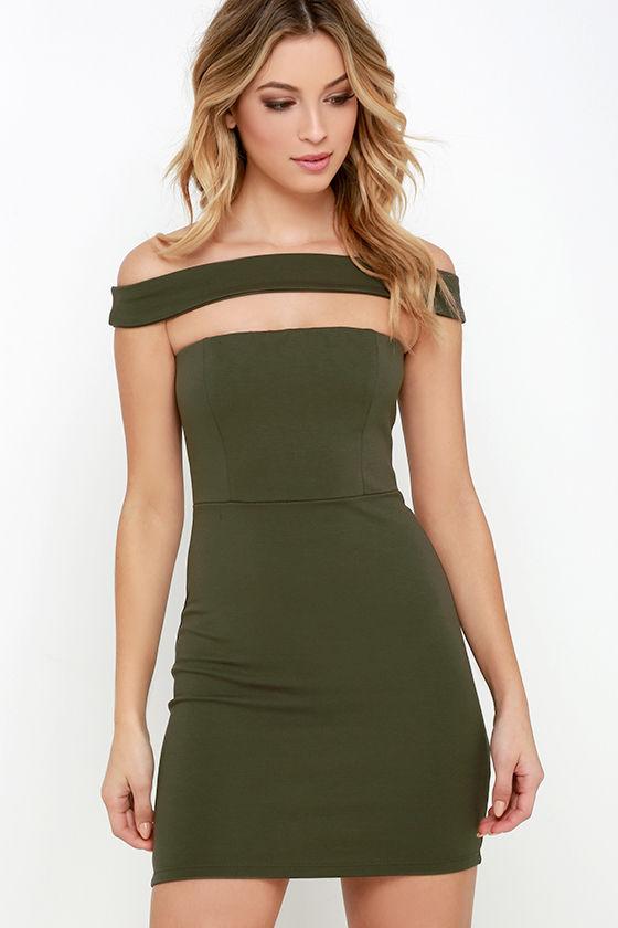 sexy olive green dress  strapless dress  bodycon dress