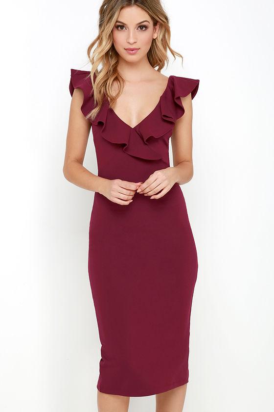 Chic Wine Red Dress - Midi Dress - Bodycon Midi Dress - Ruffle ...