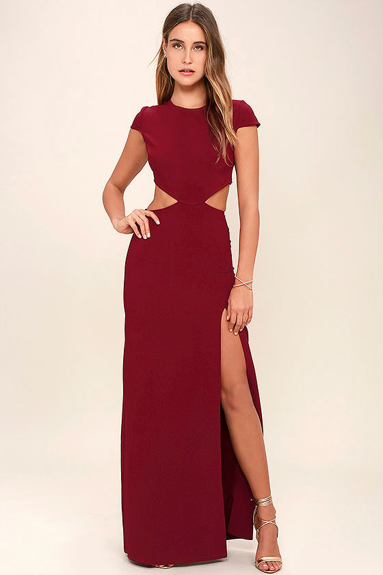 Sexy Wine Red Dress - Maxi Dress - Cutout Dress - Backless Dress ...