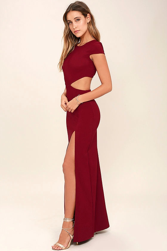 Conversation Piece Wine Red Backless Maxi Dress 2