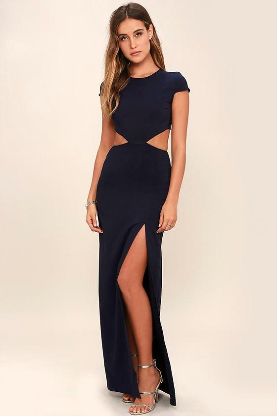 Conversation Piece Navy Blue Backless Maxi Dress 1