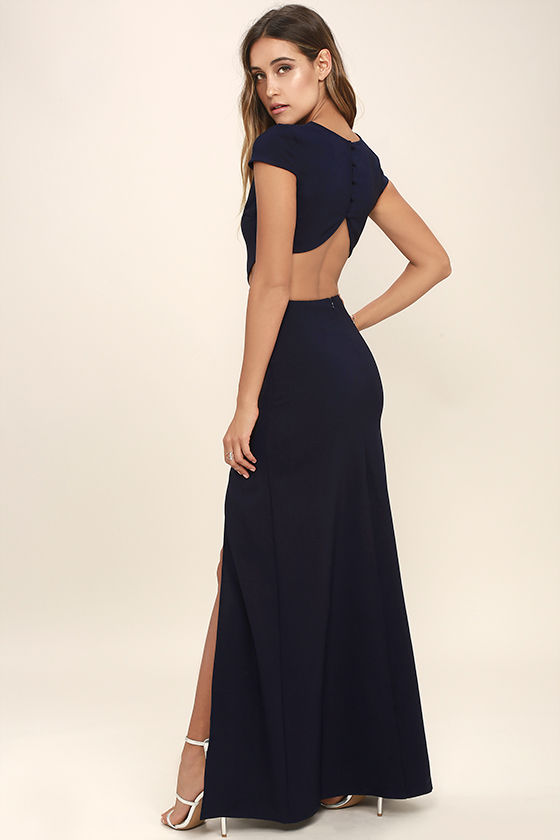 Sexy Navy Blue Dress - Maxi Dress - Cutout Dress - Backless Dress ...