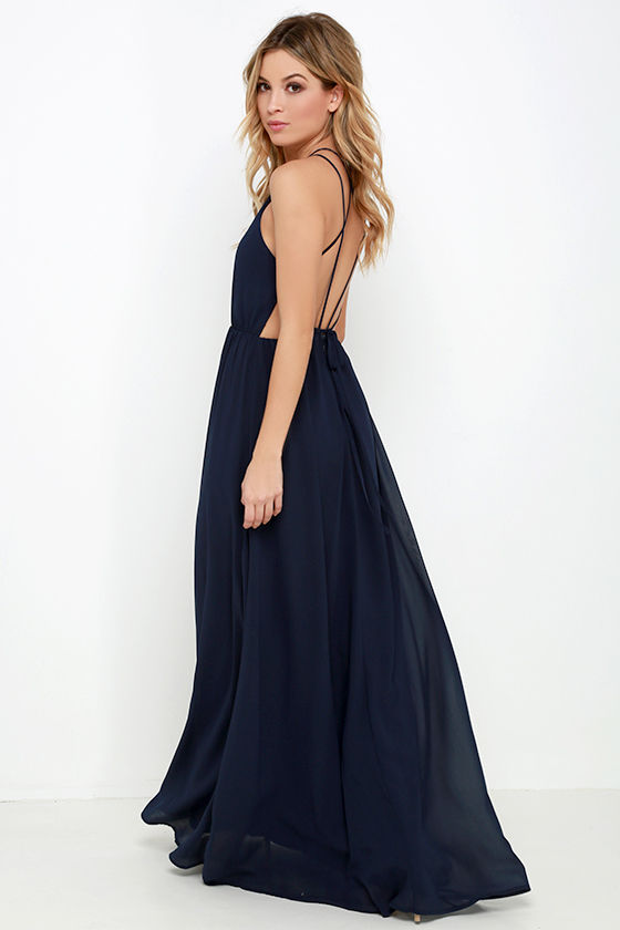 Midnight Blue Dress - Maxi Dress - Backless Dress - $74.00