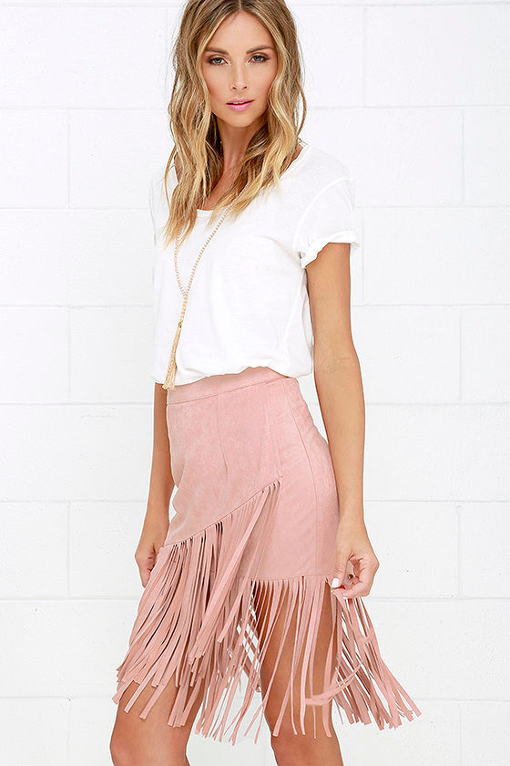 Cool Vegan Suede Skirt - Blush Skirt - Fringe Skirt - Midi Skirt ...