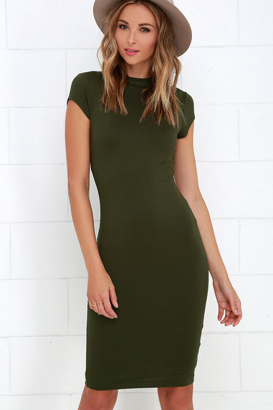 Chic Olive Green Dress - Bodycon Dress - Short Sleeve ...