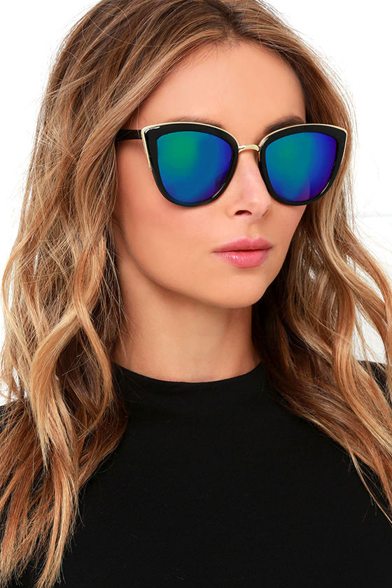1bd01da1c9d Cool Black Sunglasses - Mirrored Sunglasses - Cat Eye Sunglasses -  15.00