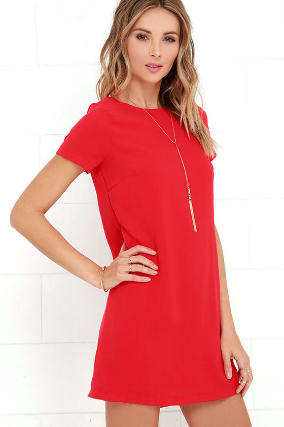 Chic Red Dress - Shift Dress - Short Sleeve Dress - $48.00