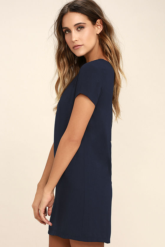 Chic Navy Blue Dress - Shift Dress - Short Sleeve Dress - $48.00