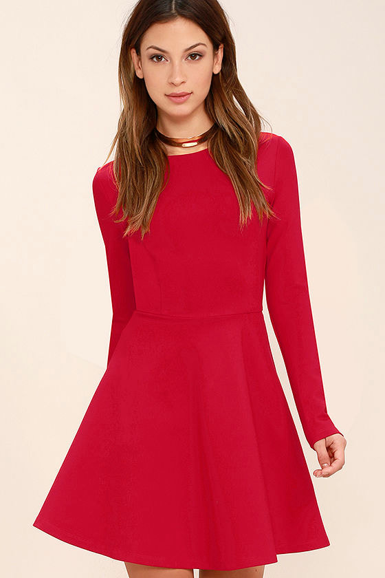 Cute Red Dress - Long Sleeve Dress - Skater Dress - $57.00