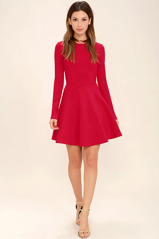 Forever Chic Red Long Sleeve Dress 2