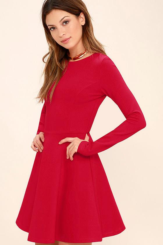 Cute Red Dress - Long Sleeve Dress - Skater Dress - $57.00