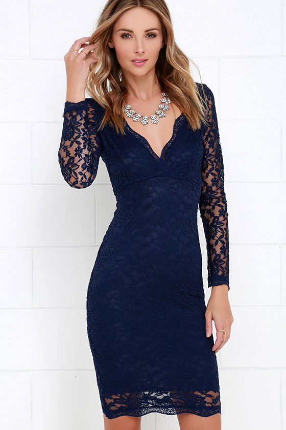 Lovely Navy Blue Dress - Lace Dress - Midi Dress - $49.00