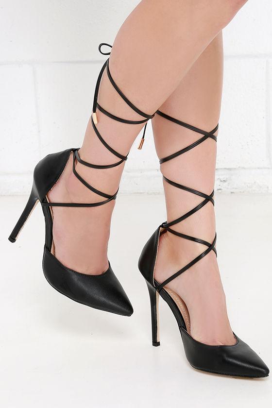 Cute Black Pumps - Lace-Up Pumps - Lace-Up Heels -  37.00
