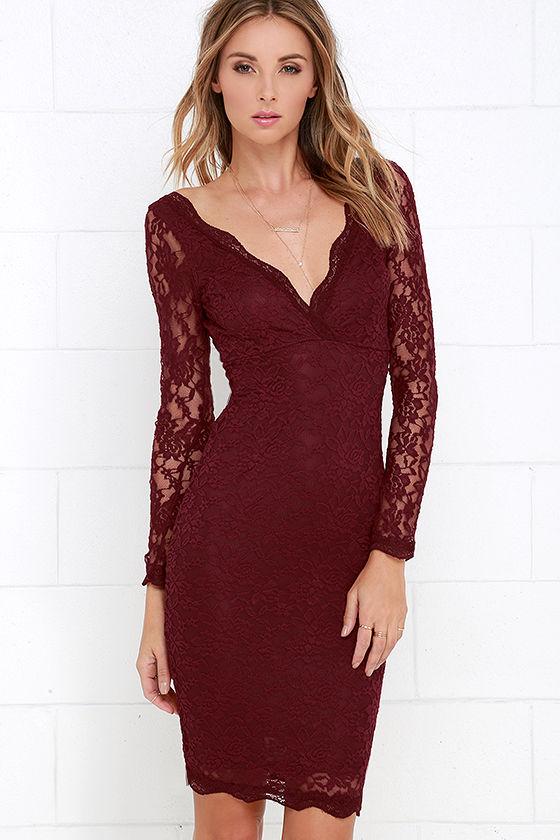 Lovely Burgundy Dress Lace Dress Midi Dress 49 00