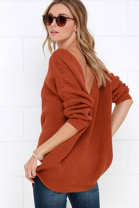Rust Orange Sweater - Knit Top - Oversized Sweater - Backless Sweater -   48.00 f9a1e828d