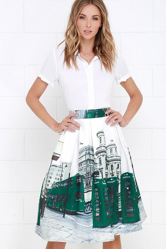 4e97dc2312 Midi Skirt - High-Waisted Skirt - Ivory and Green Skirt - City Print Skirt  - $62.00