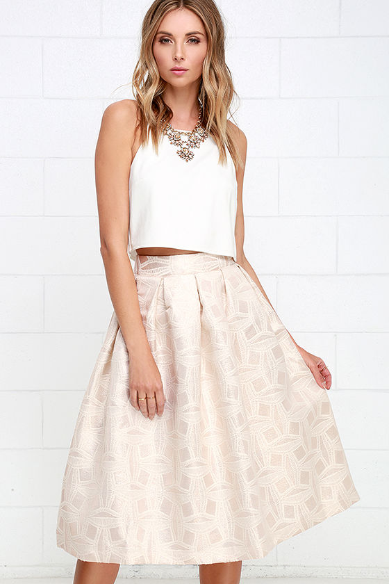 Light Gold Skirt - Jacquard Skirt - Midi Skirt - High-Waisted ...