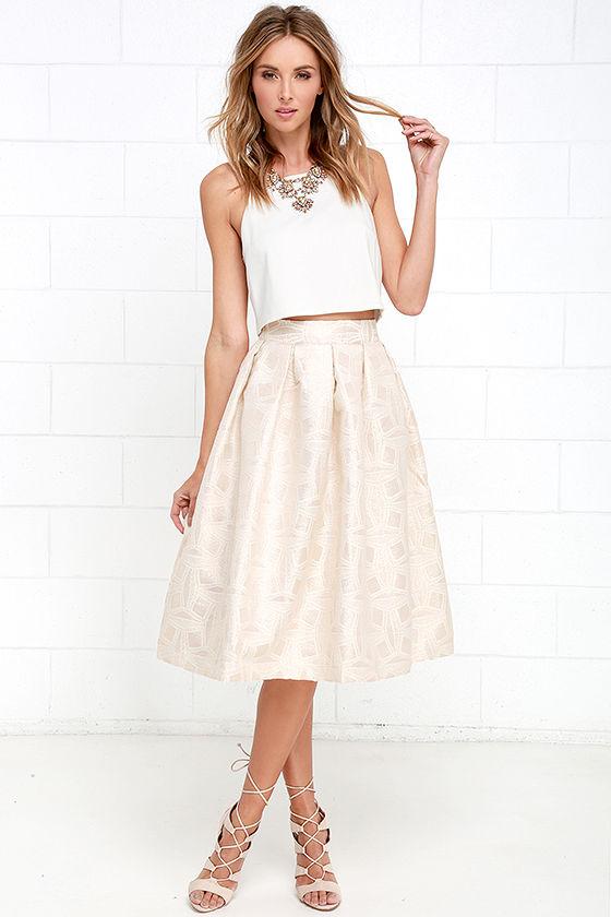 8c151dd7ecd4 Light Gold Skirt - Jacquard Skirt - Midi Skirt - High-Waisted Skirt ...
