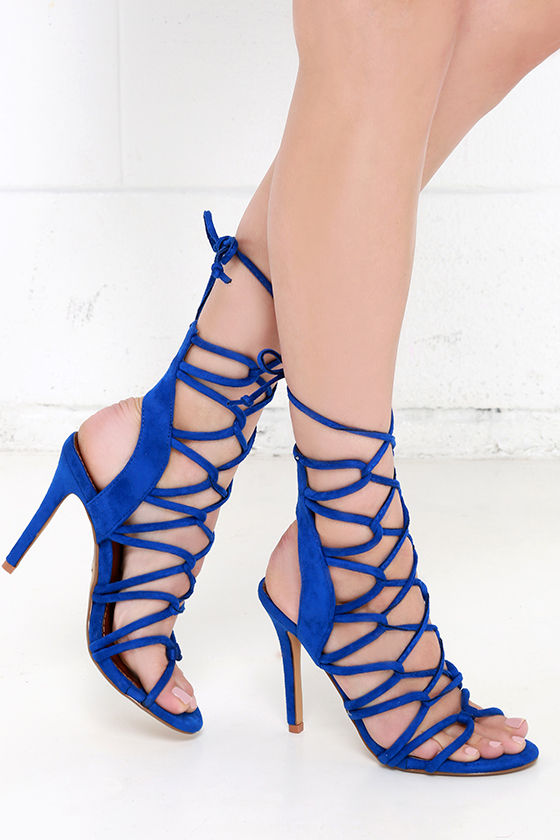 Sexy Blue Heels - Lace-Up Heels - High Heel Sandals - $41.00