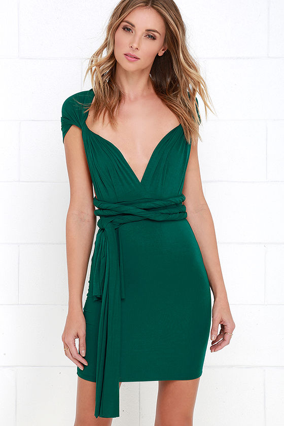 Chic Green Dress - Convertible Dress - Wrap Dress - $45.00