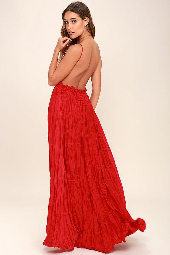 Pretty Red Dress - Crocheted Dress - Maxi Dress - $107.00