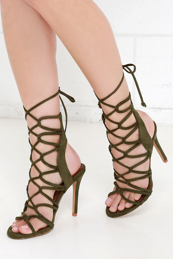 ac831346b443be Sexy Olive Heels - Lace-Up Heels - High Heel Sandals -  41.00
