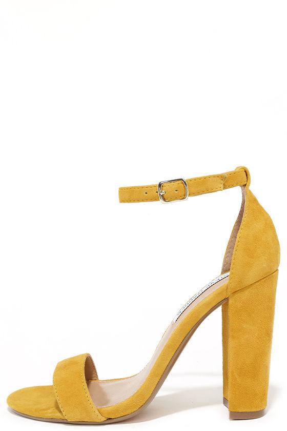 Cute Yellow Heels - Suede Heels - Ankle Strap Heels - $89.00