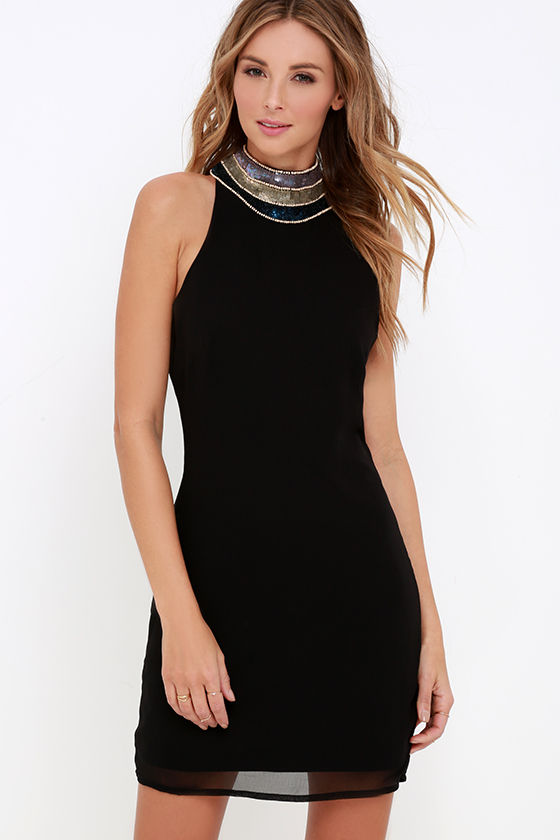 cd5697c7512 Stunning Black Dress - Sequin Dress - Sheath Dress -  82.00